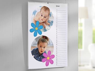 Fotokalender mit Babys und Cliparts.