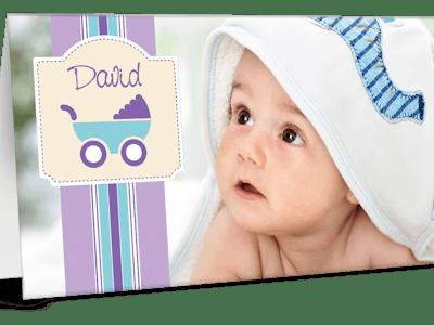 Grußkarte mit Babyfotos.