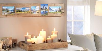 Natur pur - mit der Fotostrecke auf einer edlen Holzleiste schaffst eine Raumdekoration mit natürlichem Flair.