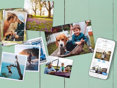 Produktmix aus dem Pixum Fotobuch und Fotoabzügen mit Sommermotiven.