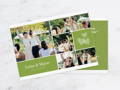 Passe das Kartendesign deiner Einladungskarte individuell an euer Hochzeitsthema an.