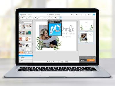 Laptop mit Gestaltungsoptionen für Grusskarten
