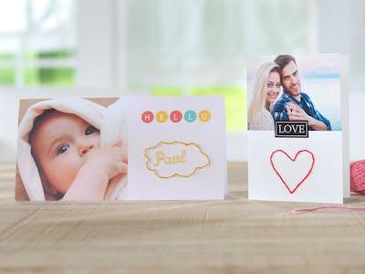 Gestalte deine Foto-Grusskarte individuell - mit eigenen Stickereien!