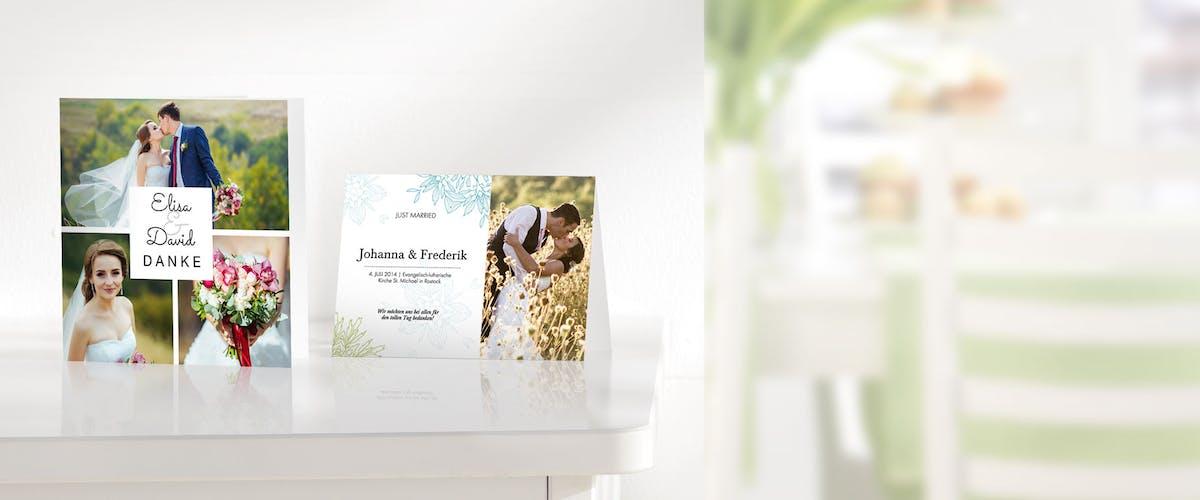 Dankeskarten zur Hochzeit mit euren Fotos