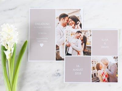 Fotogrußkarten als Einladung zur Hochzeit
