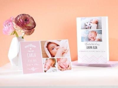 Grußkarten mit Babyfotos.