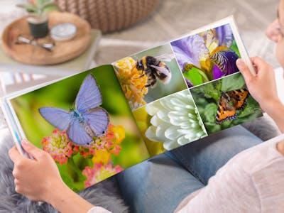 Pixum Fotobuch Kundenbeispiel mit wunderschönen Blumenmotiven.