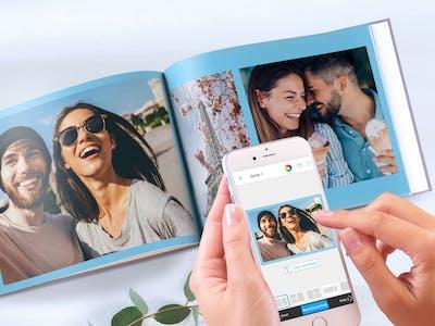 Pixum App, auf der ein Fotobuch gestaltet wird.