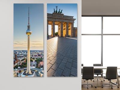 Wandbilder vom Brandenburger Tor und dem Berliner Fernsehturm