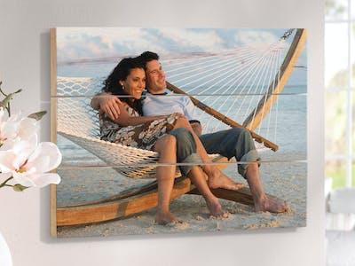 Foto auf Holz mit sommerlichem Urlaubsmotiv.
