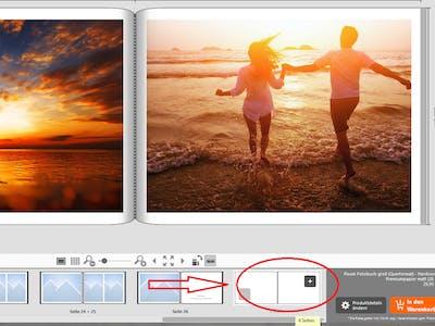 Screenshot der Pixum Fotowelt Software mit Hinweis auf die Funktion, Doppelseiten hinzuzufügen.
