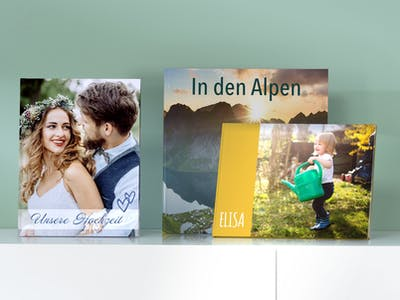 Verschiedene Fotobücher von Pixum.