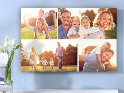 Un foto collage de una familia.