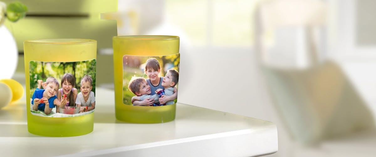 Foto-Sticker für kreative Teelichter