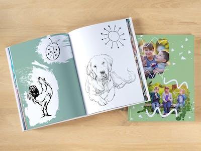 Pixum Fotobuch, gestaltet als Malbuch zu Ostern.