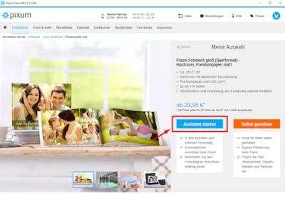Startbildschirm in der Fotowelt Software: Hier wählst du die Gestaltung per Fotobuch Assistent aus.