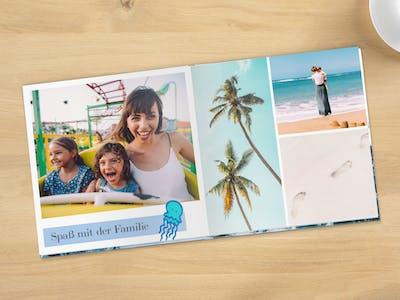 Fotobuch im quadratischen Format mit Layflat-Bindung und sommerlichen Motiven.