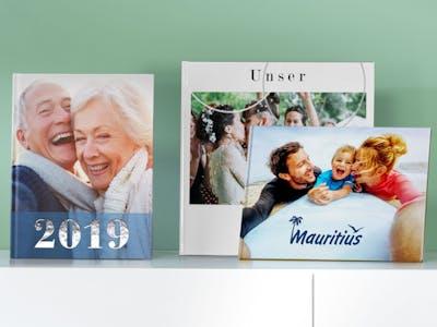 Fotobücher in verschiedenen Formaten.