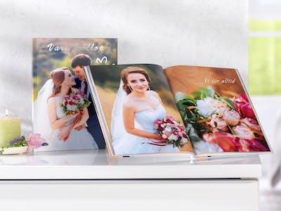 robust, ädel och individuell: Din Bröllopsfotobok erbjuder ett brett sortiment av gestlatningsmöjligheter.