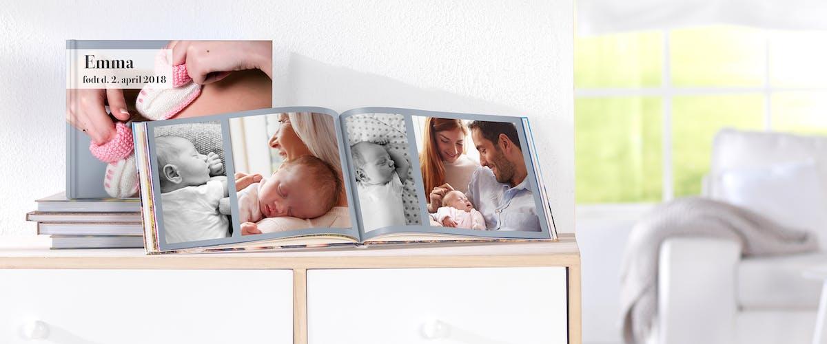 Forevig barnets første & største minder i en baby-fotobog