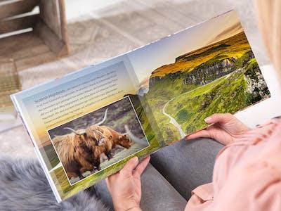 Pixum kundeksempel med en fotobog med billeder fra det skotske h�jland