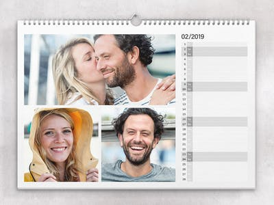 Layout with several photos per calendar page