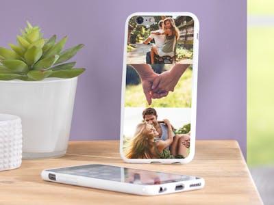 Auch für die schönsten Schnappschüsse mit Ihrem Lieblingsmenschen ist auf einer Handyhüllen-Collage ausreichend Platz.