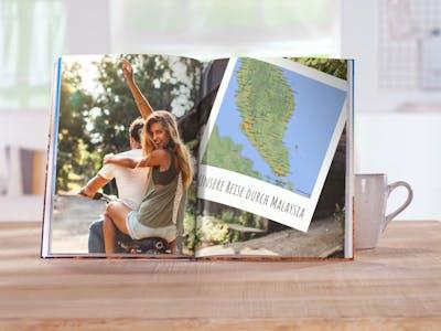 Füge deinem Fotobuch Landkarten, Cliparts, Masken und Rahmen hinzu - ganz einfach mit der kostenlosen Fotowelt Software.