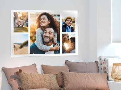 Postercollage mit mehreren kleinen Fotos