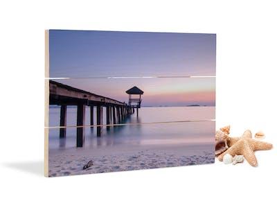 Wandbild aus Holz mit Blick auf das Meer.