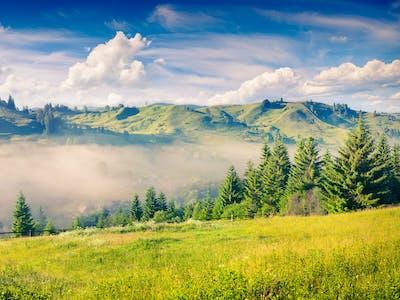Foto einer Berglandschaft.