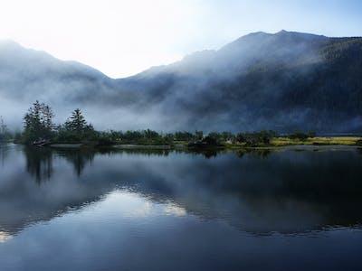 Foto eines Sees mit Bäumen.