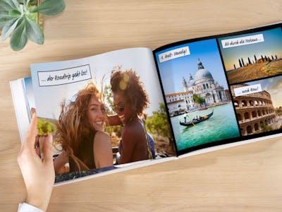 Fotobuch mit Cliparts im Comic-Look.