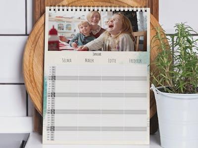 Fotokalender mit individueller Einteilung für Familien