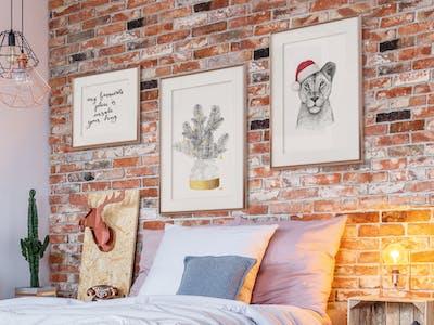 Ambiente Bild eines Schlafzimmers mit Wandbildern der artboxOne.