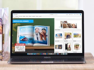 Website Pixum mit verschiedenen Produkten.