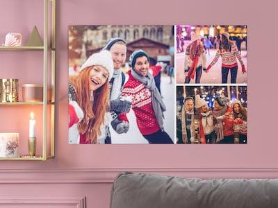 Auf einer Fotocollage bringen Sie gleich mehrere Ihrer liebsten Schnappschüsse auf dem Wandbild unter.
