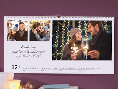 Bild eines weihnachtlichen Fotokalenders, auf dem die Bilder als Collage arrangiert sind.