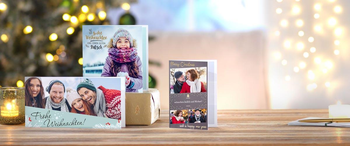 Design-Weihnachtskarten mit deinen Fotos