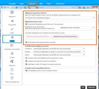 DPO-Einstellung in der Software für den kompletten Auftrag