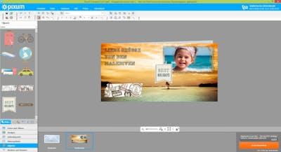 Im Online-Editor werden Cliparts in Grusskarten eingefügt