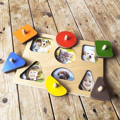 Basteln mit und fürs Kind: ein Steckpuzzle mit Ihren Liebsten