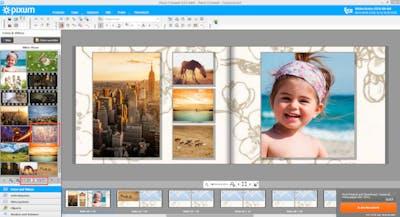 Mit nur wenigen Klicks wählen Sie Hintergründe in Ihr Pixum Fotobuch ein.