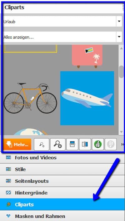 Einfach auswählen: Cliparts im Reisefotobuch zum Thema Urlaub und Co.